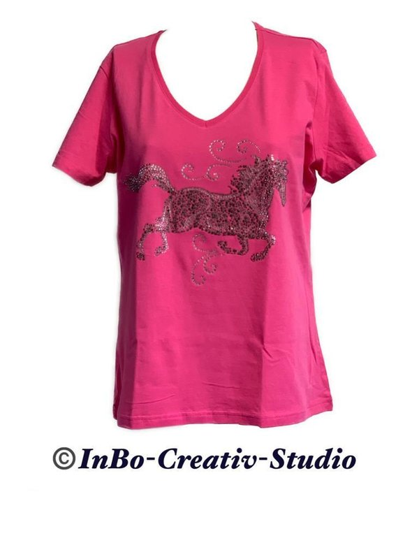 T-Shirt mit Pferd Strass-Applikation